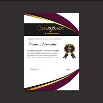 Certificado de apreciação com modelo de medalha preta