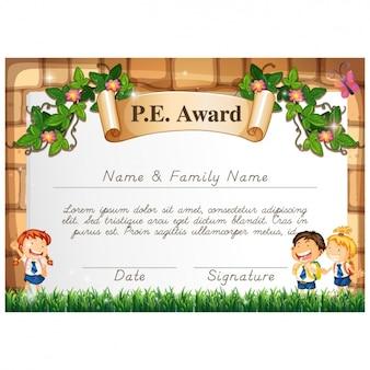 Certificado de desenhos animados para crianças