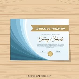 Certificado de excelência com formas onduladas azuis