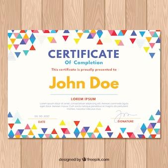 Certificado de graduação com triângulos coloridos