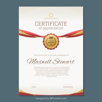 Certificado de luxo, com detalhes dourados e vermelhos