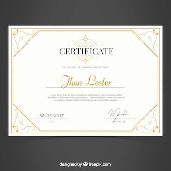 Certificado de luxo de excelência com decoração ornamental