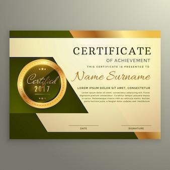 Certificado de luxo prémio de realização no estilo de ouro