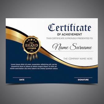 Certificado de realização azul e branco