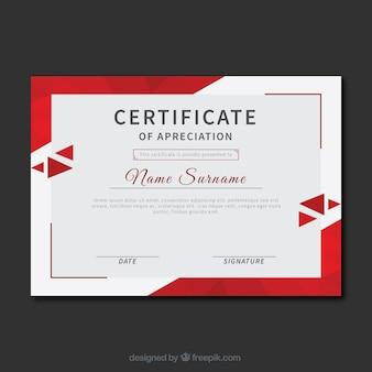 Certificado de reconhecimento com triângulos vermelhos
