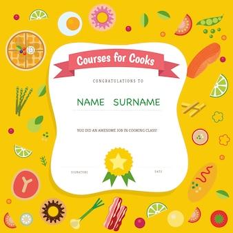 Certificado do curso de culinária
