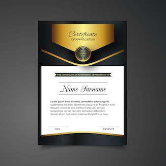 Certificado dourado e preto do molde da apreciação