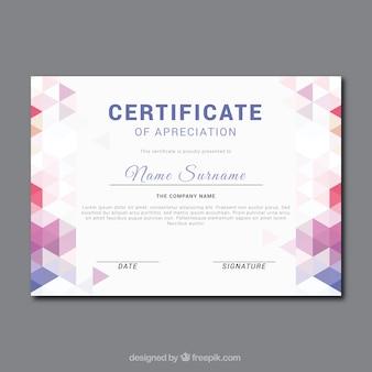 Certificado fantástica de apreciação com cores formas geométricas