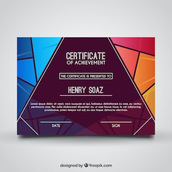 Certificado geométrica de realização com formas coloridas
