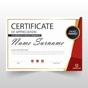 Certificado horizontal vermelho ELegant com ilustração do vetor