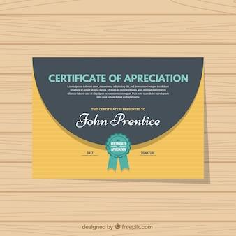 Certificado listrado de apreciação com elementos verdes