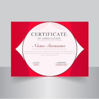 Certificado moderno com cor vermelha