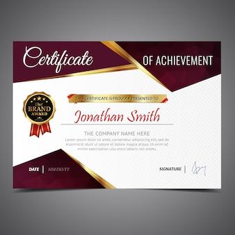 Certificado ouro e vermelho