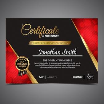 Certificado preto e vermelho