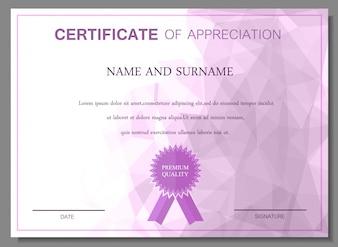 Certificado roxo do projeto da apreciação