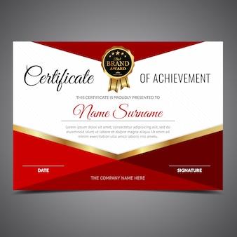 Certificado vermelho e branco da realização