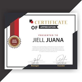 Certificado vermelho e branco