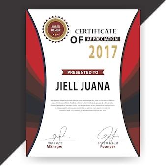 Certificado vertical vermelho e branco