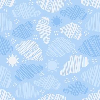 Céu azul sem costura com fundo padrão de nuvens