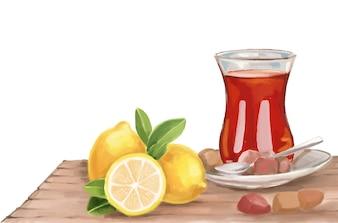 Chá de aquarela com ilustração vetorial de limão e doces