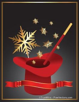 Chapéu mágico com flocos de ouro
