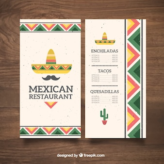 Chapéu mexicano plano e bigode menu de comida mexicana
