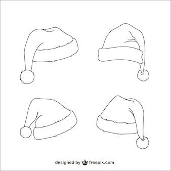 Chapéus de Papai Noel esboços
