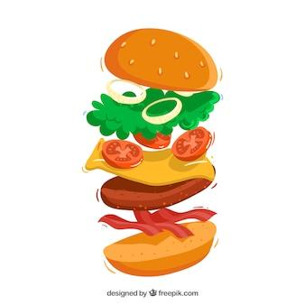 Cheeseburger com deliciosos ingredientes