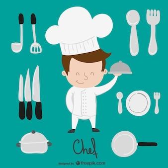 Chef e elementos da cozinha dos desenhos animados