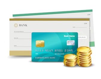 Cheque de cartão de crédito e moedas