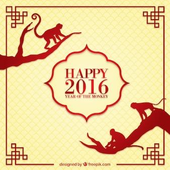 Chines Feliz Ano Novo 2016 de fundo