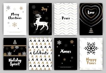 Christmas Design Set - Trendy Holiday Themed Collection ideal para etiquetas de presentes ou impressão em preto branco e ouro