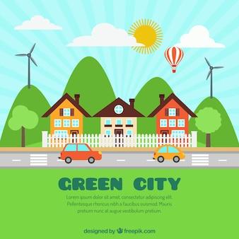 Cidade Eco amigável em design plano