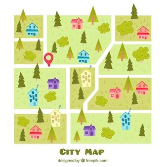 Cidade, mapa, desenho, fundo