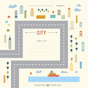 Cidade plana modelo elementos do vetor