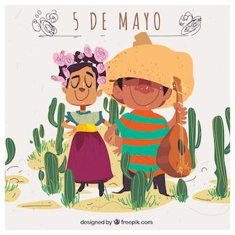 Cinco de Mayo fundo com casal mexicano adorável e cactos