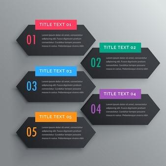 Cinco infográficos passos banners em tema escuro