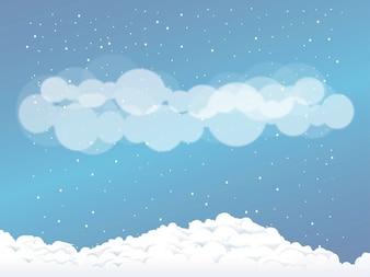 círculos christmas neve nuvens vector