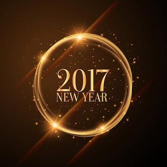 Círculos dourados brilhantes com 2017 novos desejos do feliz ano