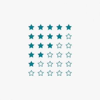 Classificação por estrelas na cor azul