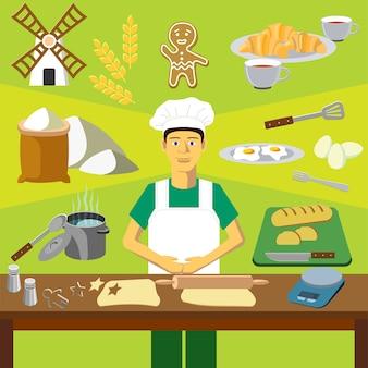 Clip art vetorial colorido. Infografia. Profissão do padeiro (cozinheiro)