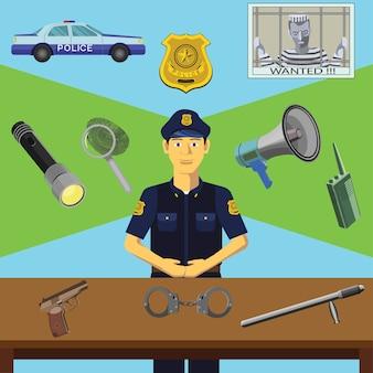 Clip art vetorial colorido. Infografia. Profissão do policial