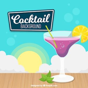 Cocktail de fundo com fatia de limão
