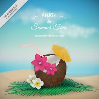 Coco com flores fundo verão