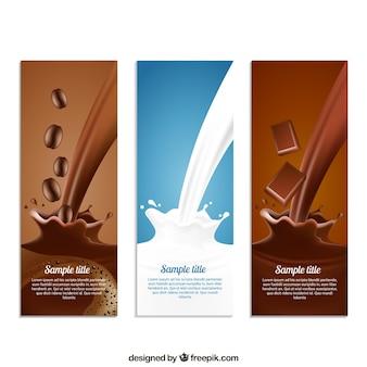 Coffe, leite e chocolate