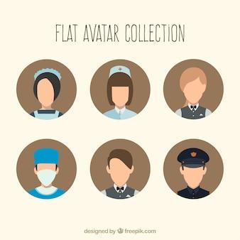 Coleção avatars de profissões modernas
