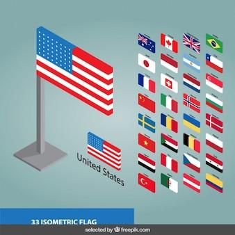 Coleção bandeiras 3d