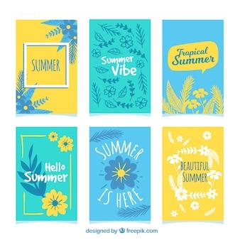 Coleção bonita de cartões de verão