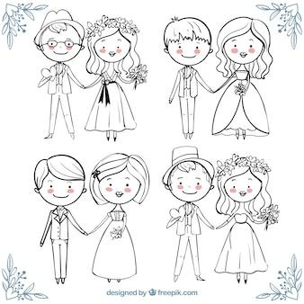 Coleção bonita de casais felizes do casamento no estilo desenhado mão