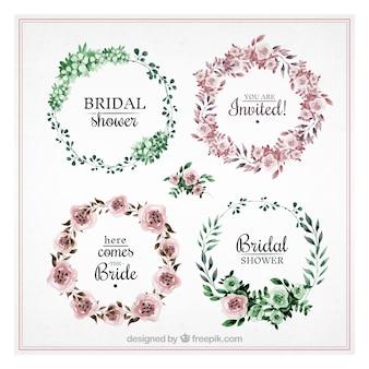 Coleção bonita de quadros chuveiro rodada de noiva